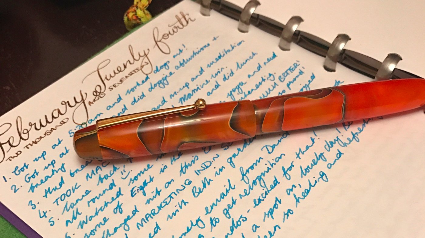 Humungous hunk: Edison Collier Persimmon Swirl with M steel nib